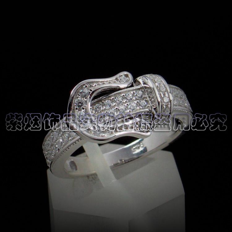 银戒指925纯银女镶钻银戒指锆石戒指女子银饰生日礼物送女友