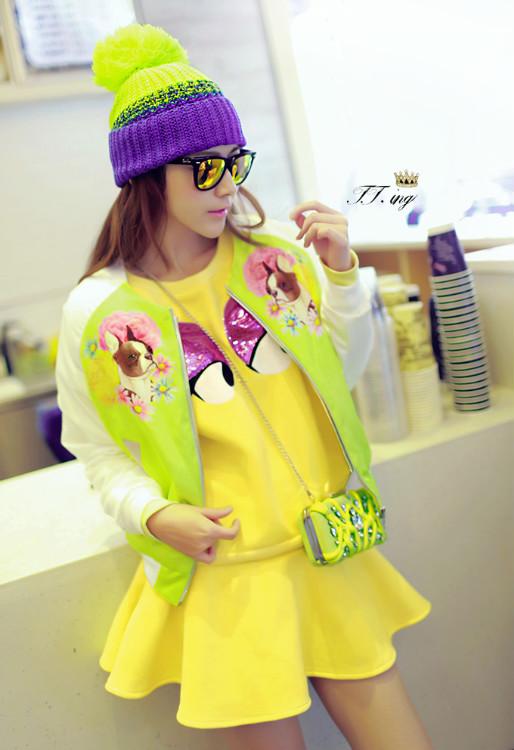 菁菁同款 大眼睛印花亮片卫衣+黄色半身裙 套装