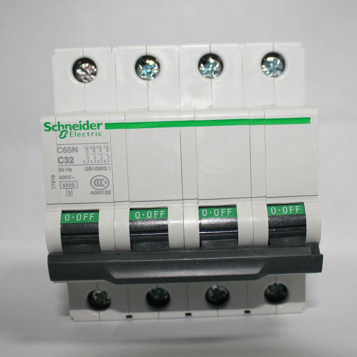 施耐德(天津)原产正品C65系列小型断路器IC65N 4P D63A