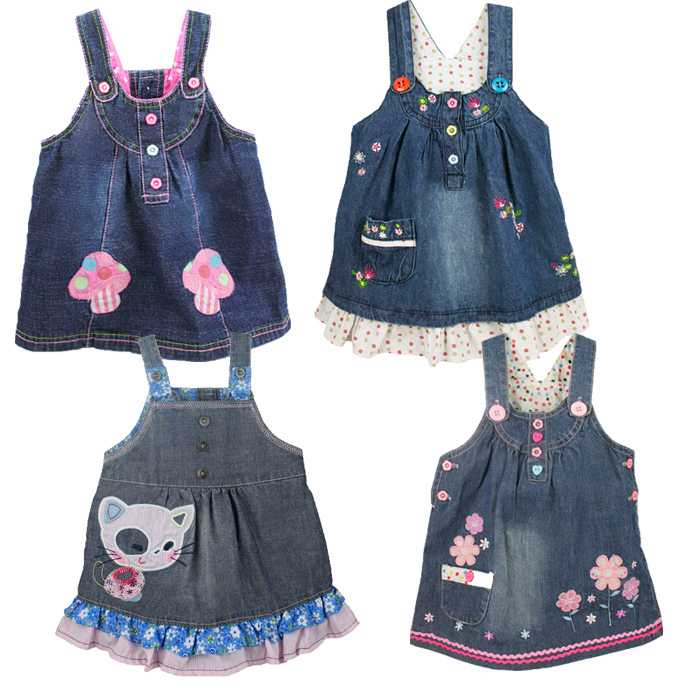 Весна и осень BABY PEP девочек вышитые джинсовые юбки/платья, камзол/чистый хлопок джинсовой ткани юбка комбинезон