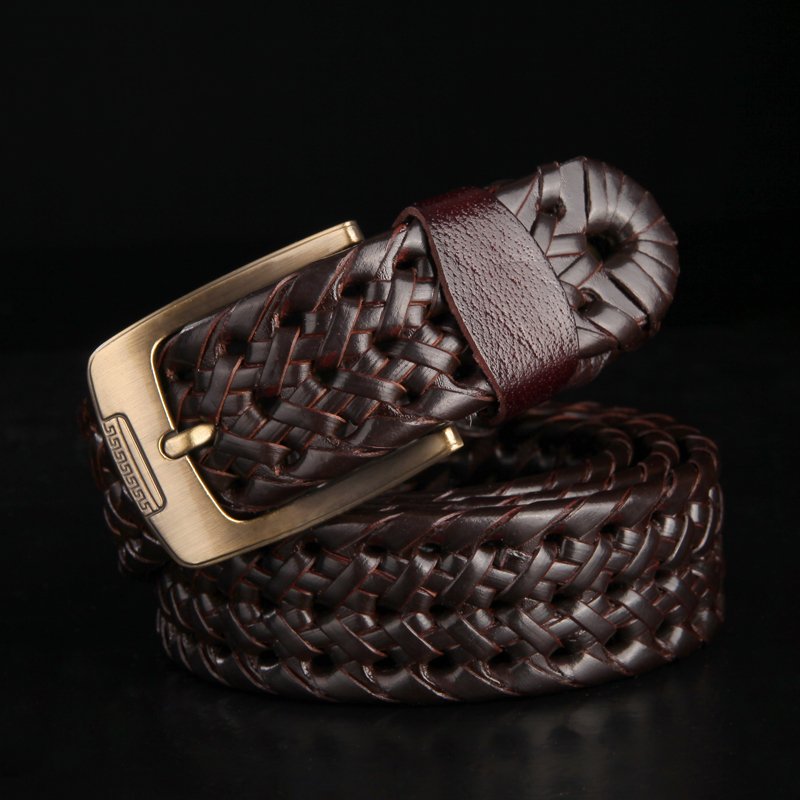 Leather belt mens new European and American fashion leather hand woven mens leather belt national style leather belt for men