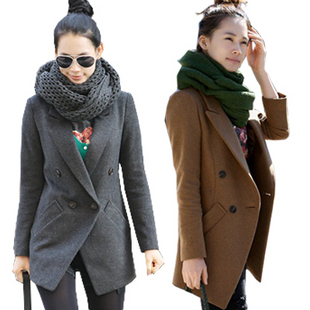Hot Korean version of the fall and winter long paragraph Slim double breasted wool suit coat jacket ladies wild