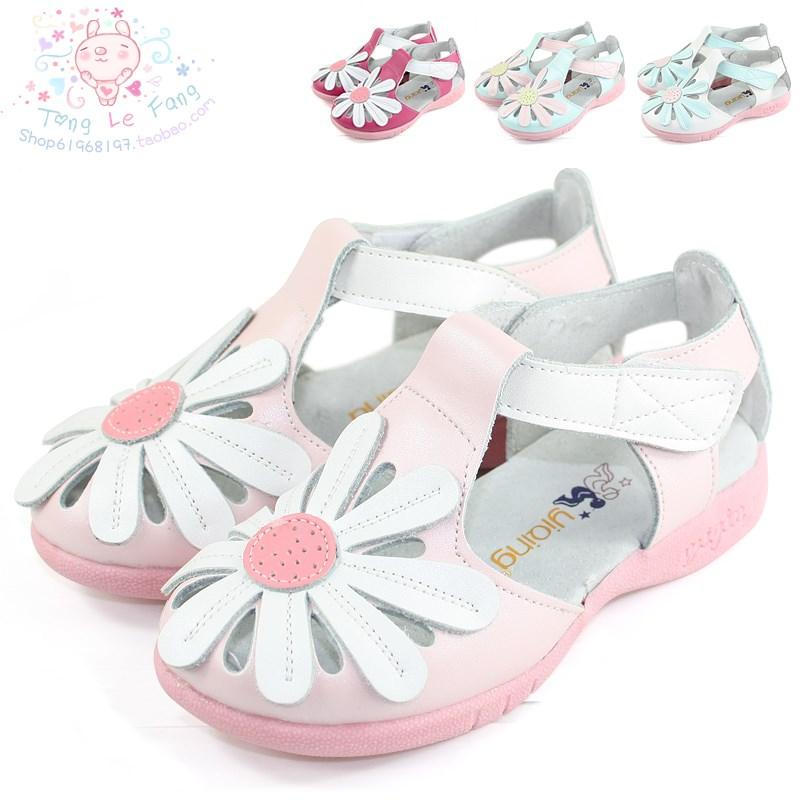 Большой цветок подлинной черный девочек пронзили кожа кожа половину сандалии Обувь прохладно обувь Корейский принцесса