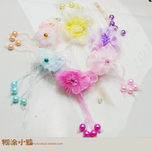 Hair accessories headdress plate made children s jewelry beads hanging plush mink bow clip small hairpin gripper hair caught