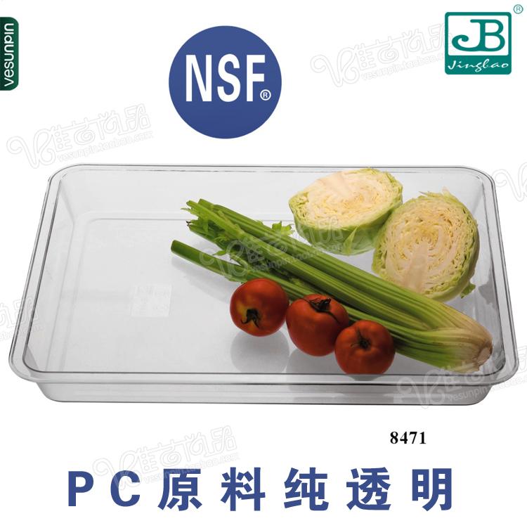 正品嘉宝PC仿玻璃盘子 透明蔬菜盘塑料果盘 长方形食物储备盘8470