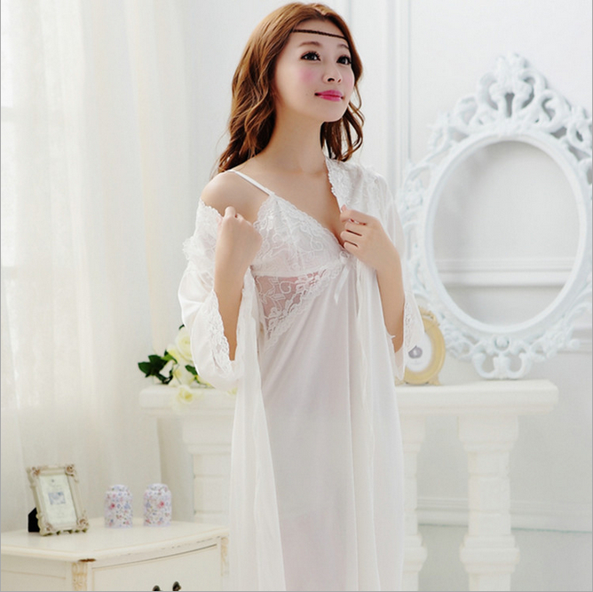 Noble hollow out white suspender nightdress two piece suit womens summer medium sleeve ice silk pajamas sexy silk slip nightdress