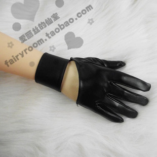 cos Hatsune miku COSPLAY Accessories thousand cherry cherry PU leather gloves half palm bracelet wristband