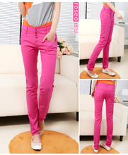 Han edition candy colour 2015 age season thin elastic single row of tall waist button 4 feet pencil pants jeans are female