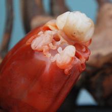 寿山石精品手把件蜡烛红巧色芙蓉晶石顶呱呱石境幽