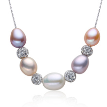 Natural pearl pendant that mix colour Fashion S925 silver chain distribution of high-grade gift box Send earrings authentic