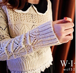 2013 spring new Korean Shopping Hot Japanese sweet diamond lace round neck sweater thick sweater