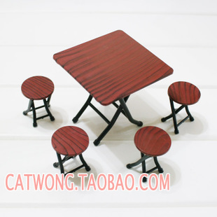Folding chairs stall restaurant scene Siwan 1 12 simulation mini dollhouse furniture model