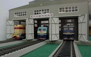 Building model train scene Chinese style three wire standard HO large proportion garage