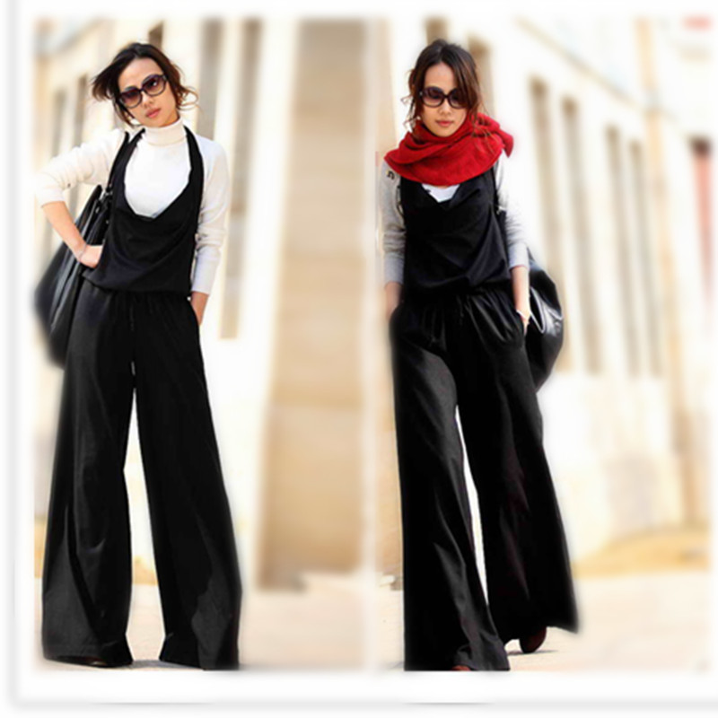 Original design -- wide leg swinging collar Jumpsuit fabric / jumpsuit / suspender 2018 new style