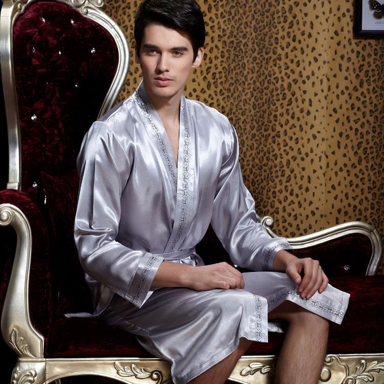 Счетчики аутентичные весна лето xifenni новый Шелковый Халат мужской с длинными рукавами Шелковый халат домашних услуг
