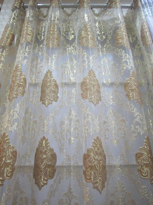 Новые функции! Дамаск, роскошный европейский стиль вышивкой вуаль дополнительные эксклюзивные цвета 2.8-метровой ширины