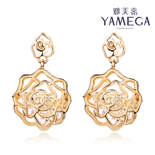 Masami Jiahan Guo hollow rose flowers female fashion earrings with jewelry earrings temperament super flash zircon earring