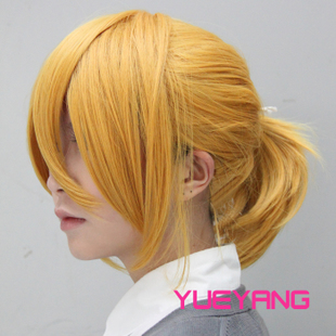Transocean COSPLAY wig VOCALOID LEN twin brother mute lotus golden wig cos
