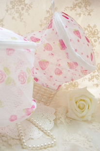 Japanese folding strawberry flower pattern fine mesh nursing bra underwear washing laundry bags
