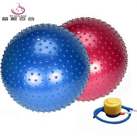 百合加厚防爆瑜伽球75/85/95cm按摩球宝宝早教感统球健身球送气泵