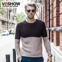 Viishow2014 new sweaters men crewneck Turtleneck knit sweater men's wool jacket Western wind