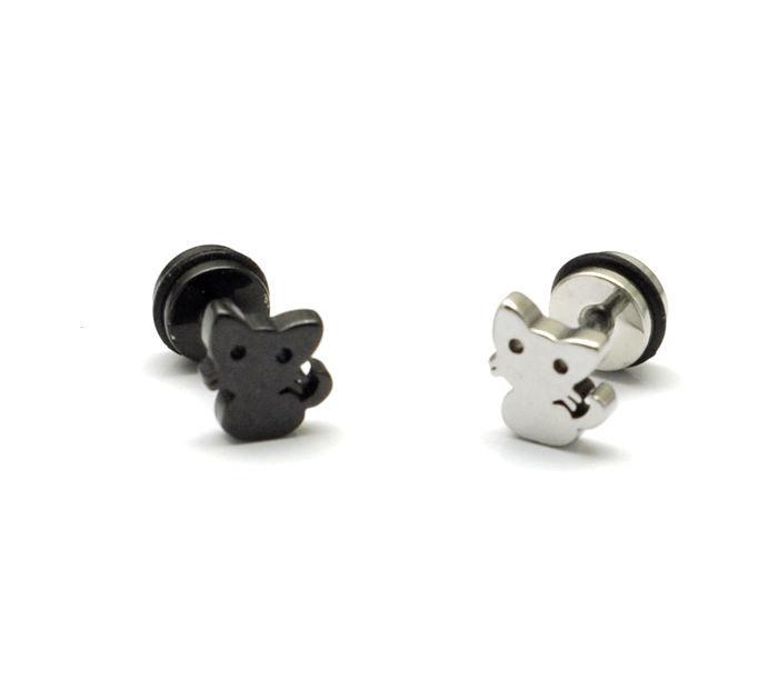 Cat titanium steel earrings / Korean cartoon style / color fastness / stainless steel earrings and Earrings [2251]