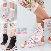 2014新款时尚女童中大童靴 高帮透气镂空女童凉鞋鱼嘴夏季凉鞋子