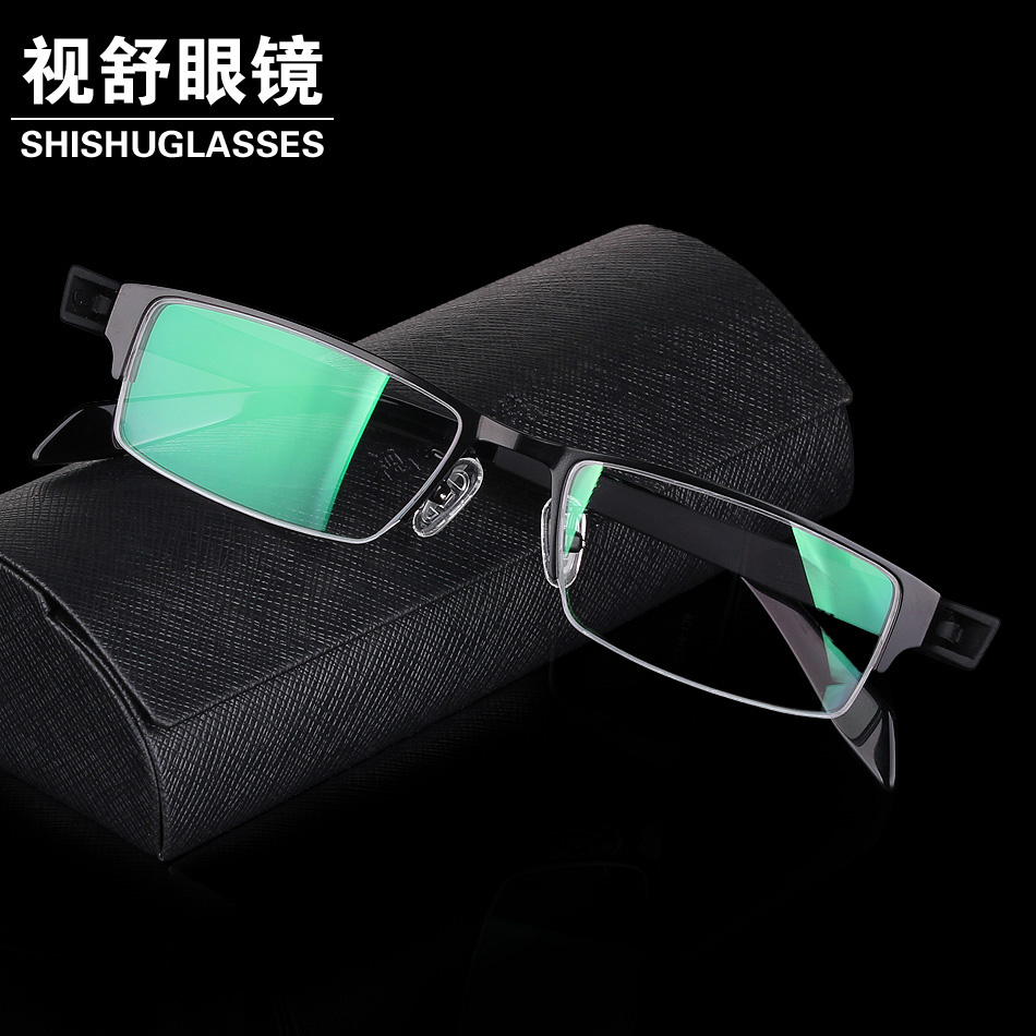 Short sighted spectacle frame big face wide face mens business alloy half frame Chao light blue light proof spectacle lens