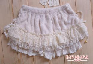 Shibuya kei red diamond sweet side LIZ LISA lace bow plush Shuiyu lace culottes White