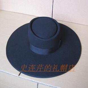 促销100%羊毛礼帽舞台时装帽欧美高贵气质平顶加大帽檐羊毛呢帽子