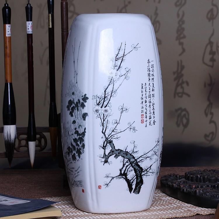 景德鎮陶瓷器 四方富貴竹花瓶 客廳餐桌裝飾品插花藝術工藝品擺件