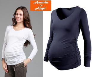 明星款孕妇春装上衣时尚莫代尔孕妇打底长袖T恤修身孕妇装打底衫