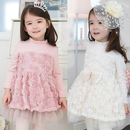 2015 раз осень/зима одежда бесплатно новые девушки добавил бархат юбки Корейский дамы с длинным рукавом цветок платье принцессы платье
