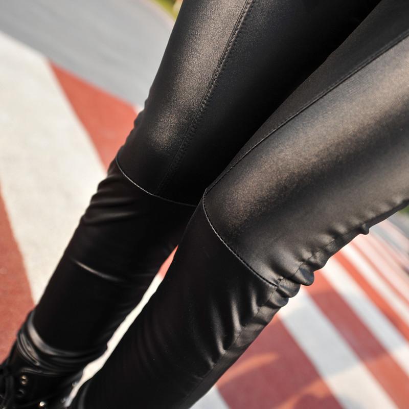 K602 Корейская версия новой летней дамы длинные кожаные штаны носить девять футов в тонкий карандаш брюки лосины