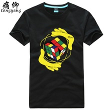 Rubik's Cube T-shirts, American TV dramas, men's summer, plus fat, large tide, round neck, short-sleeved teenagers, clothes