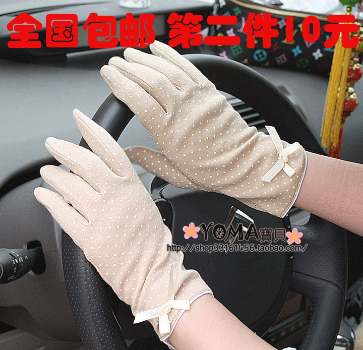 free shipping!! Anti ultraviolet driving, cycling, sunscreen, anti slip bow knot pure cotton short thin gloves