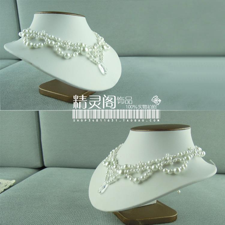 Handmade Korean bride Pearl Drop Necklace wedding banquet accessories forehead jewelry set chain Lolita Jewelry Set
