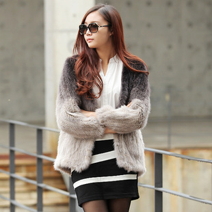 2013 new authentic Korean luxury gradient Conference of the entire mink fur knit mink fur coat jacket Specials