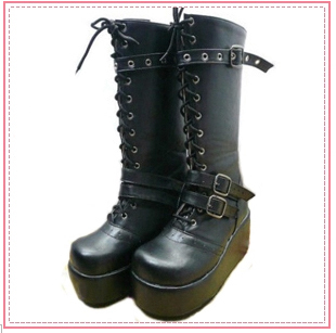 Flower lolita rivet round bottomed Roman waterproof Taiwan based punk band punk muffin boots X32
