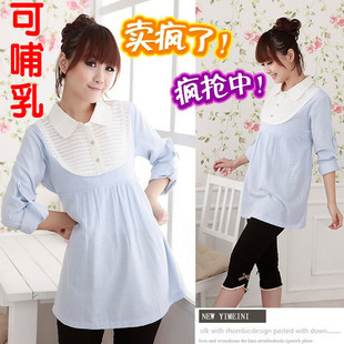 55ee5a46182fe Taobao Spring maternity dresses/Korean edition lactating lady fit shirt OL  blue and white stripe/breastfeeding clothes china english wholesale