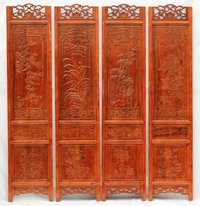 东阳木雕屏风隔断折屏客厅卧室玄关中式复古实木折叠移动住宅家具