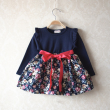 The new 2014 han edition baby girls in the spring and autumn navy blue cotton big navy blue skirt flowers fly long-sleeved dress