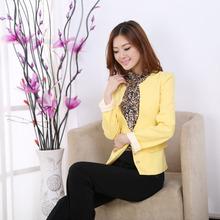 小魅娘2016秋季新款韩版OL通勤V领双排一粒扣拼接蕾丝长袖小西装