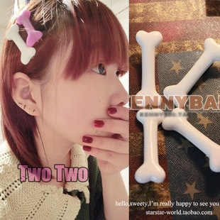Harajuku zipper Kreepsville 666 dog bones luminous hairpin edge clip hairpin F26