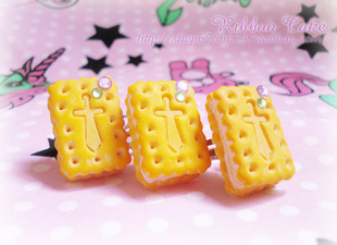 Japanese Harajuku style cute swimmer handmade biscuit sandwich Cross Ring Ring lolita
