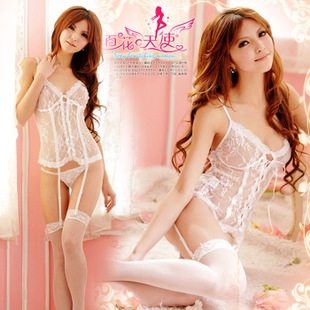 Before the new Ms sexy underwear transparent white lace garter palace vest straps containing 9174