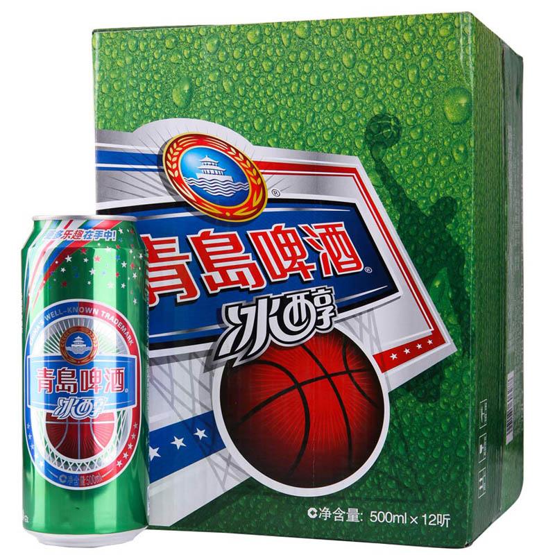 ~天貓超市~青島啤酒冰醇易拉罐500ml^~12 聽青島整箱大罐裝
