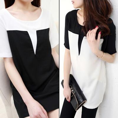 Летом новой корейской версии сыпучих шить плюс размер женщин одежда длинные t рубашка короткие женские черно-белый шифон рубашку блузку