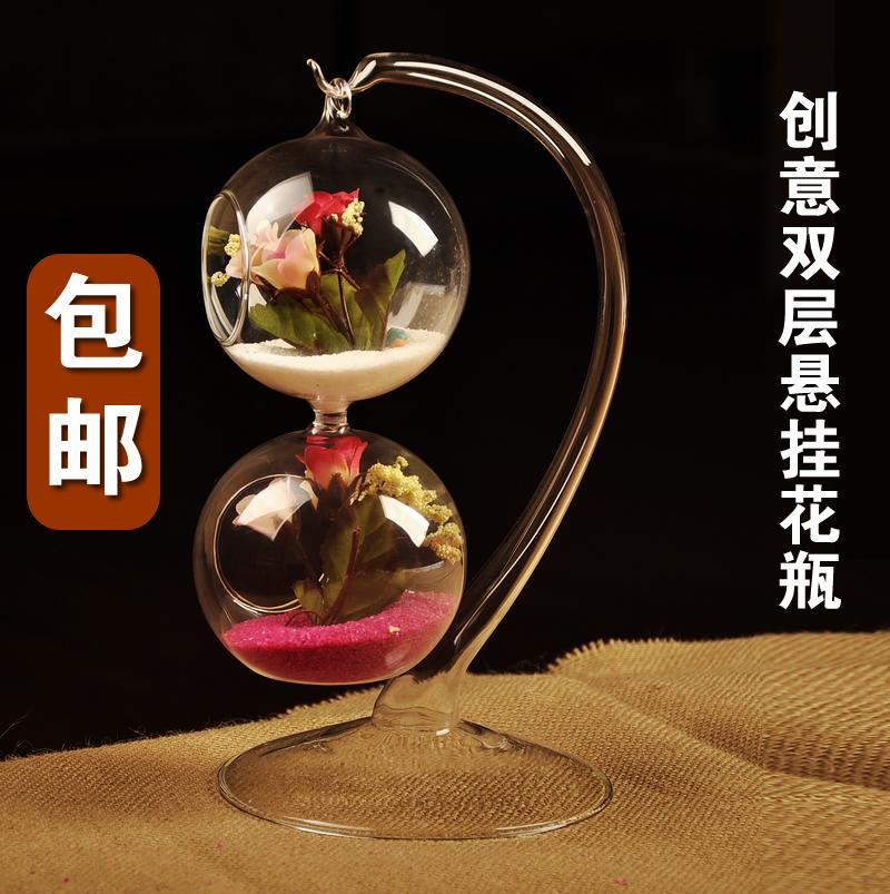 mxmade全國包郵歐式DIY 雙層懸掛透明玻璃花瓶擺件