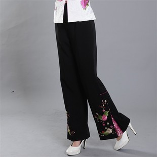 Shanghai Spring and Autumn paragraph impression elegant embroidery improved fashion trousers pants Chinese costume pants Ms Spring